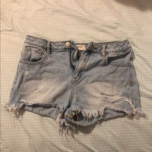 pac sun ripped jean shorts